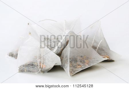 dried tea in pyramid biodegradable bags