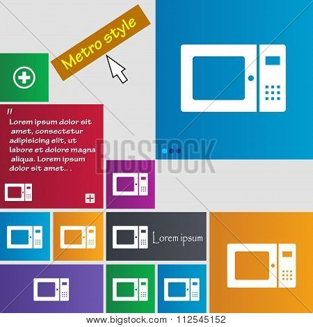 Microwave Icon Sign. Buttons. Modern Interface Website Buttons With Cursor Pointer.