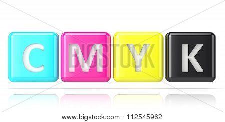 CMYK cubes. Abstract 3D