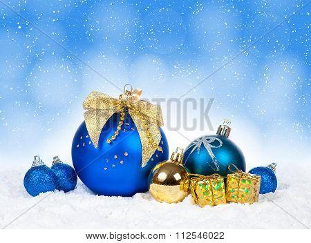 Christmas colorful decor over snow