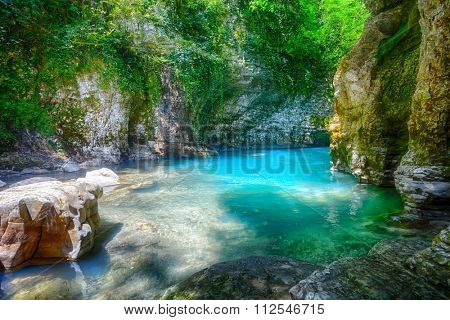 Martvili canyon in Georgia. Beautiful natural canyon with view of the mountain river