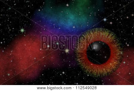 Mysterious view. Magic eye. Panoramic looking into deep space. Dark night sky full of stars