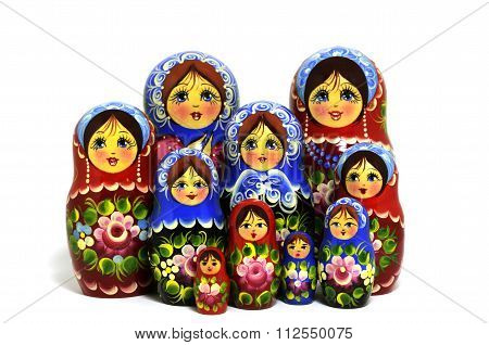 Lot Of Traditional Russian Matryoshka Dolls On White