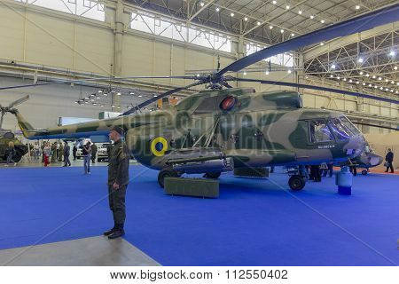 Kiev, Ukraine - September 08, 2015: Upgraded Mi-8 Helicopter At The Specialized Exhibition