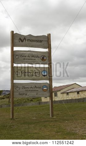 Tourist Sign, Puerto Natales, Chile