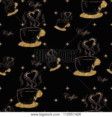 Golden steamy cups of coffee