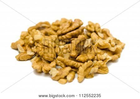 Walnuts Shelled Closeup Isolated On White