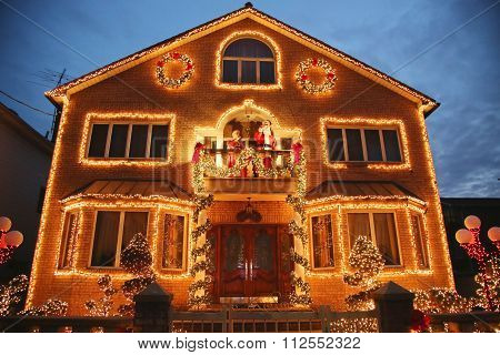 Christmas house decoration lights display in Brooklyn