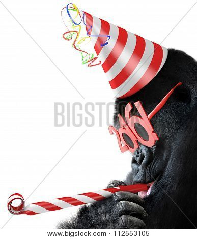 Silly gorilla with cone hat and New Year 2016 glasses blowing a party horn for Chinese Year of the M
