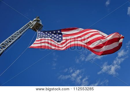 Stars & Stripes On Hydraulic Platform Boom