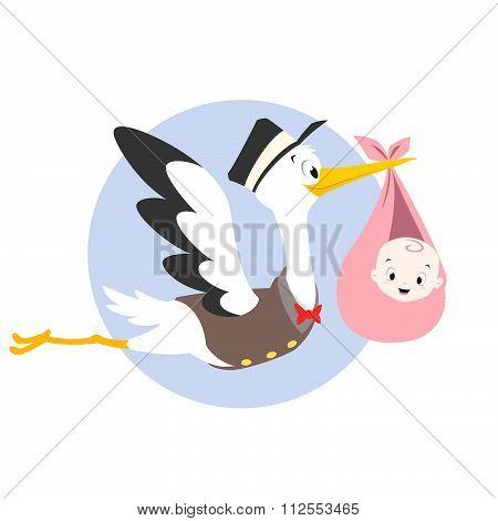 Stork Baby Illustration