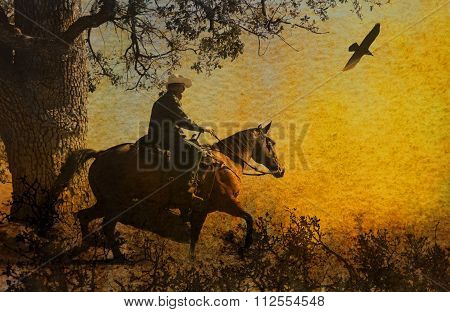 A cowboy on his horse galloping around a tree.