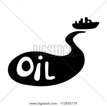 oil spill from the tanker, black illustration