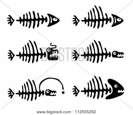 Set of black fish bones, illustration
