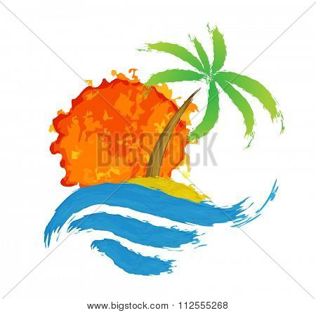 Tropical palm on island with sea. illustration.