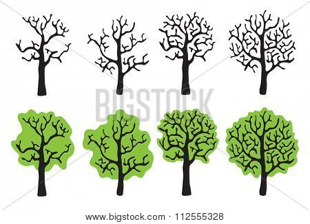 Set of trees with and without foliage, solated illustration