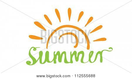 Hand-written word SUMMER, lettering logo. illustration