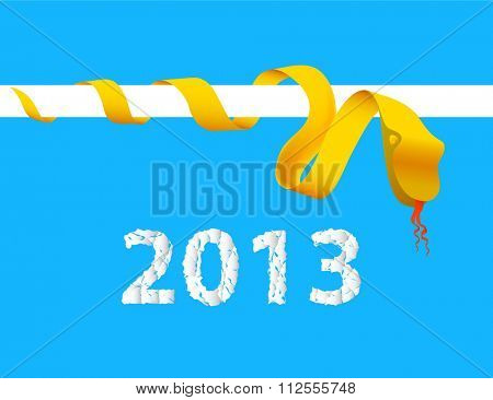 Origami Snake with 2013 Year,  illustration