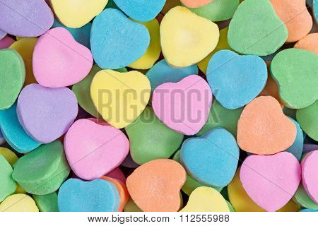 Happy Valentines Day With Colorful Heart Shaped Candies