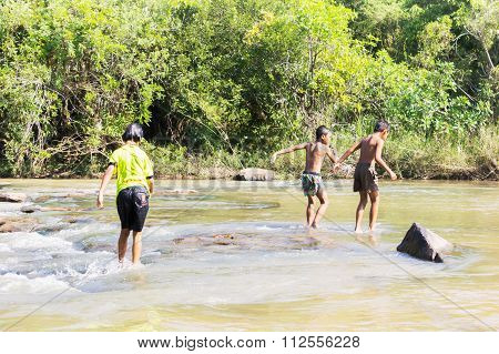 Folkway Of Thai Children In Countryside With River And Nature In Holiday
