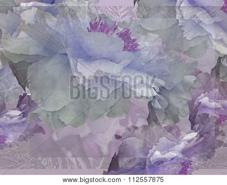 Floral Potpourri with Peonies in Pale Green and Violet