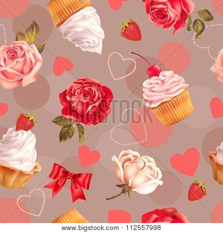 Seamless romantic pattern with roses, cupcakes and heart shapes. Vector illustration.