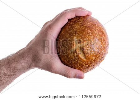 Clean Male Hand Grasping A Sourdough Bun