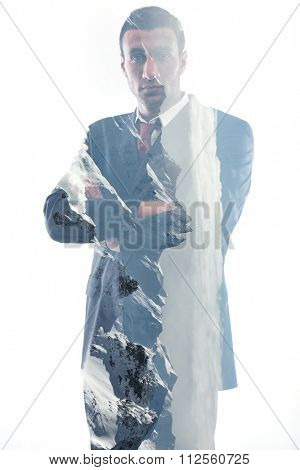 double exposure of  happy smiling young arab business man isolated on white background