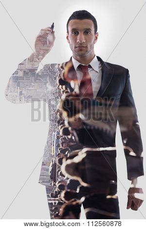 double exposure of business man draw with marker on empty copy space isolated on white in studio