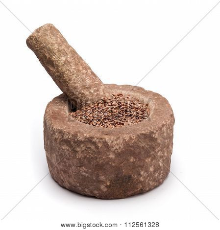 Organic Linseed or Flaxseed in mortar.