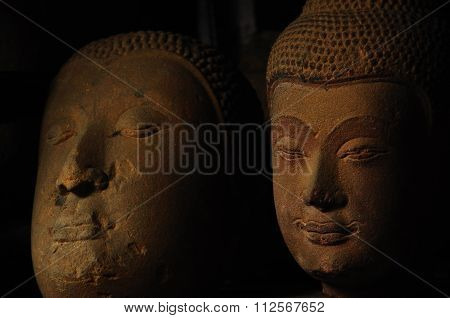 Old Neglected Sandstone Buddha Head