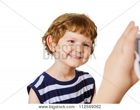 Children Making Photos. Laughing Child In Studio.
