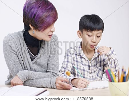 Asian Mother And Son