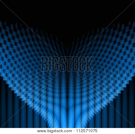 Geometric symmetric pattern blue black