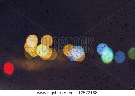 Soft Romantic Colour Bokeh Light Background With Water Or Rain Drop On Mirror Glass Plate Window