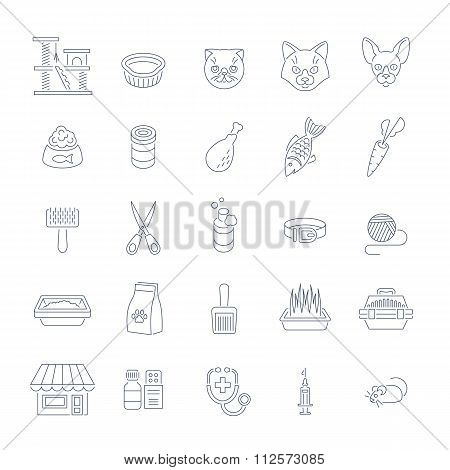 Cat Care Pet Shop Flat Thin Line Icons