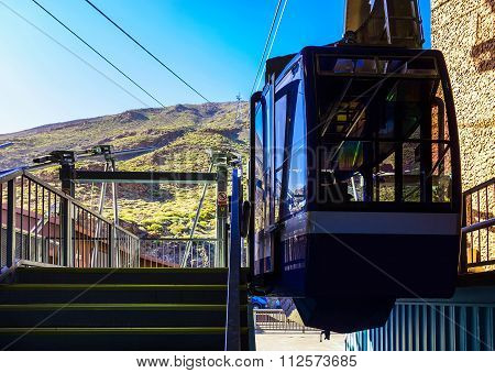 Cableway Or Funicular Cabine On Platform