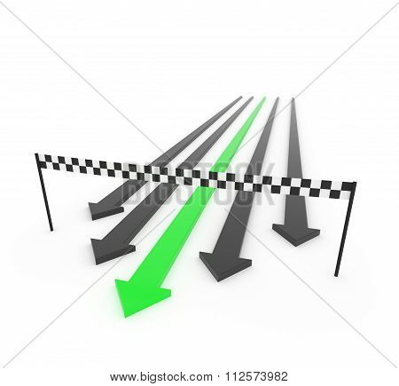 Green 3D Arrow Wins The Race