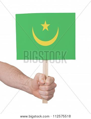 Hand Holding Small Card - Flag Of Mauritania