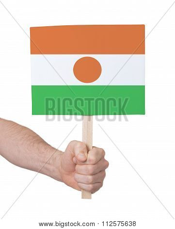 Hand Holding Small Card - Flag Of Niger