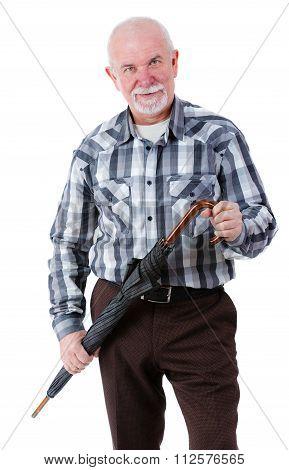 Portrait of old senior man with beard holding umbrella