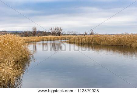 Landscape on a small river Omelnik near Mosty village central Ukraine