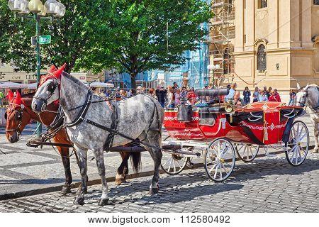 Prague, Czech Republic-september 12, 2015 Horses With Coach In  Prague On Street, People, Cetral Par