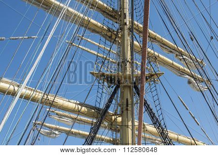 Old sailing ship masts sails and rigging