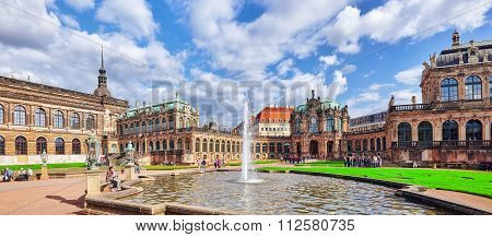 Dresden,germany-september 08,2015:  People In Court Zwinger Palace (der Dresdner Zwinger)  Art Galle