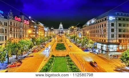 Prague,czech Republic- September 06, 2015: Wenceslas Square In Prague At Night, Dusk Time,top View.s