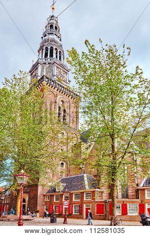 Amsterdam, Netherlands- September 15, 2015: Westerkerk (western Church) View In Amsterdam.