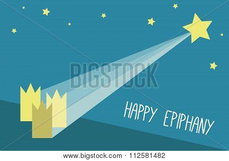 Happy Epiphany vector card