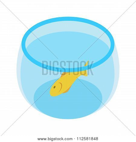Aquarium with goldfish isometric 3d icon