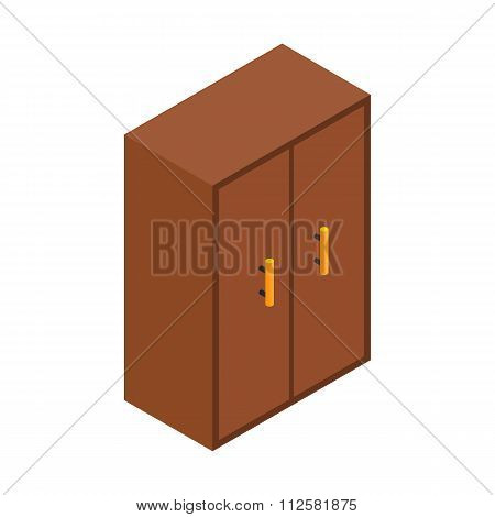 Brown cupboard isometric 3d icon